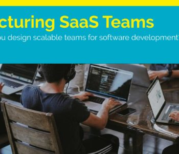 "A team works with text overlay ""how to scale product development teams"""